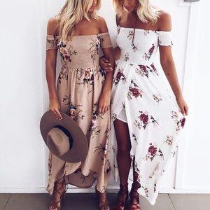 Floral Beige Summer Maxi Dress,Boho Maxi Dress,🆕